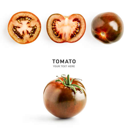 Fresh tomato creative composition isolated on white background. Food, healthy eating and dieting concept. Sommer brown kumato tomatoes arrangement and layout