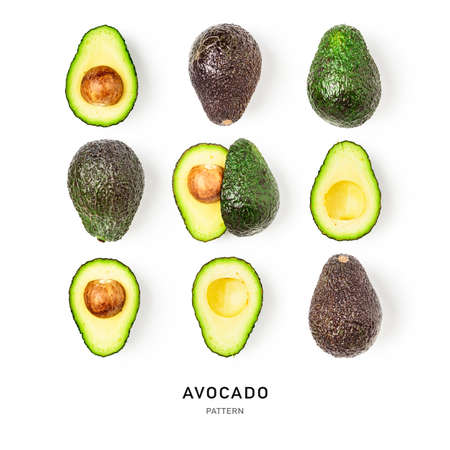 Avocado creative seamless pattern and collection isolated on white background. Food, healthy eating and dieting concept. Tropical fruits arrangement and layout. Flat lay, top view Stock Photo