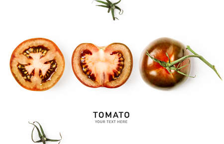 Fresh tomatoes creative composition isolated on white background. Food, healthy eating and dieting concept. Sommer brown kumato tomato arrangement and layout