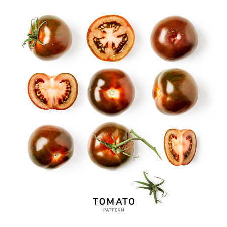Fresh tomato creative pattern and collection isolated on white background. Food, healthy eating and dieting concept. Sommer brown kumato tomatoes arrangement and layout. Flat lay, top view