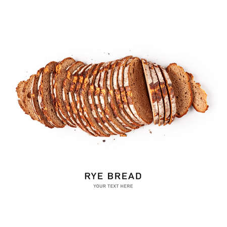 Multi grain bread creative composition isolated on white background clipping path included. Sliced rye bread. Healthy eating and food concept. Top view, flat lay