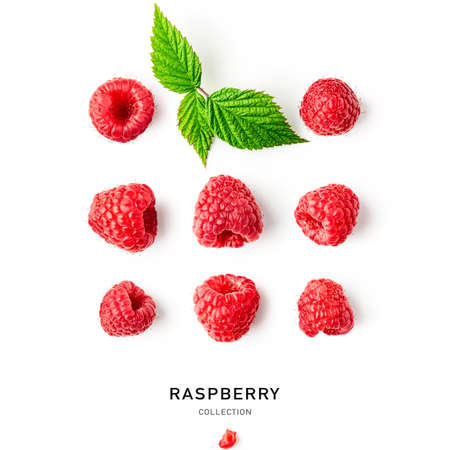 Fresh raspberry fruits and leaves collection and creative pattern isolated on white background. Healthy food concept. Summer red berries composition and layout. Top view, flat lay, design elements