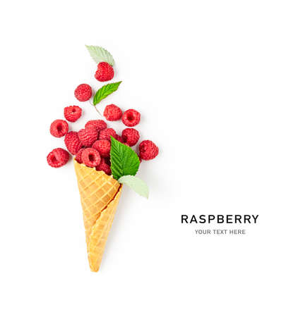 Raspberries in ice cream cone creative layout isolated on white background. Healthy food and dieting concept. Summer raspberry with leaves composition. Top view, flat lay, design element