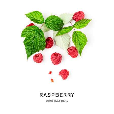 Raspberries with leaves creative layout isolated on white background, clipping path. Healthy food and dieting concept. Summer raspberry fruit composition. Top view, flat lay, design element