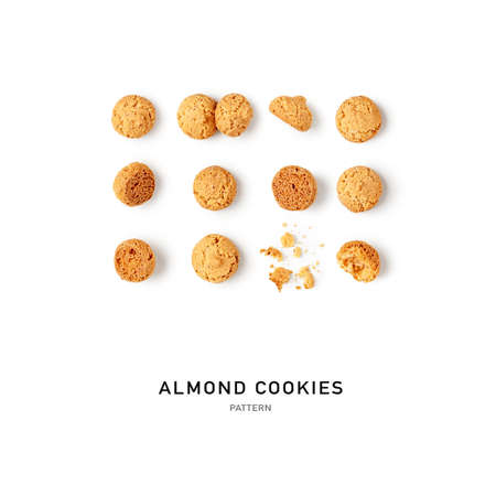 Almond cookies, italian biscuits amarettini creative pattern on white background. Sweets composition and collection. Food concept. Flat lay, top view