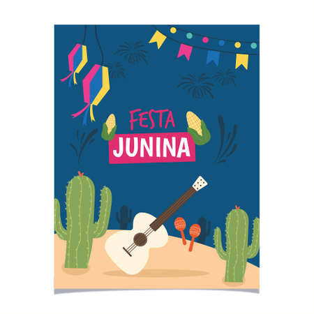 festa junina poster with fireworks