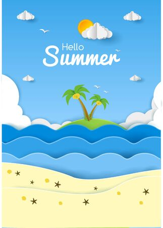 illustration vector graphic hello summer with paper cut style good for summer event poster