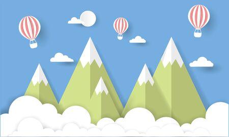 Illustration vector mountain papercut good for travel