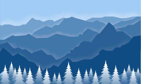 Illustration vector graphic blue mountain traveller Illustration