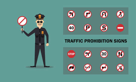 Vector graphic of Police Holding a traffic sign