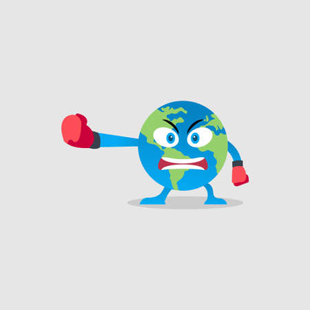 Illustration Vector Graphic of Boxing Earth Character. Perfect to use for Campaigns on Earth Day and Earth Preservation Programs