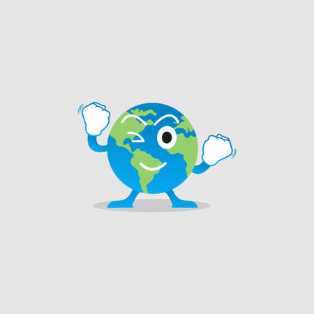 Illustration Vector Graphic of Happy Earth Character. Perfect to use for Campaigns on Earth Day and Earth Preservation Programs Illusztráció
