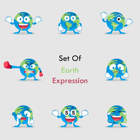 Vector Graphic Set of Earth Expression. Perfect to use for Campaigns on Earth Day and Earth Preservation Programs