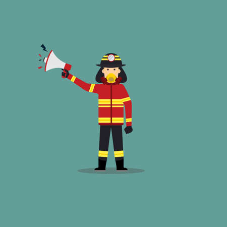 Cartoon Illustration of Fireman Hold a Loudspeaker