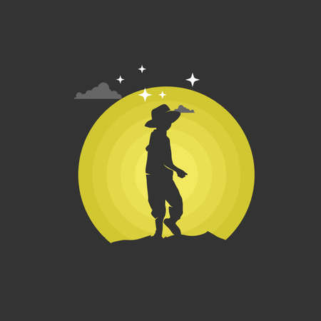 Boy with hat looked back. Silhouette