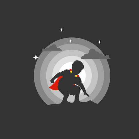 Super Kid with red robe in the Night. Silhouette