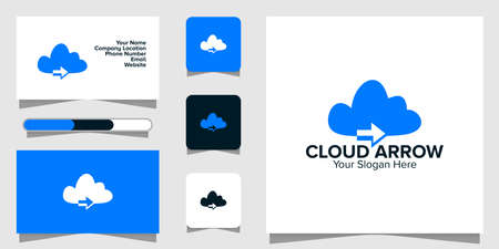 Illustration Vector Graphic of Cloud Arrow Tech Logo. Perfect to use for Technology Company