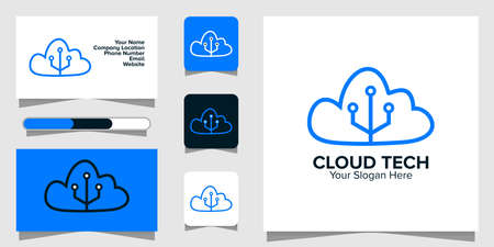 Illustration Vector Graphic of Cloud Tech Logo. Perfect to use for Technology Company 矢量图像
