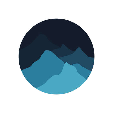 flat logo of the mountains in the nighttime