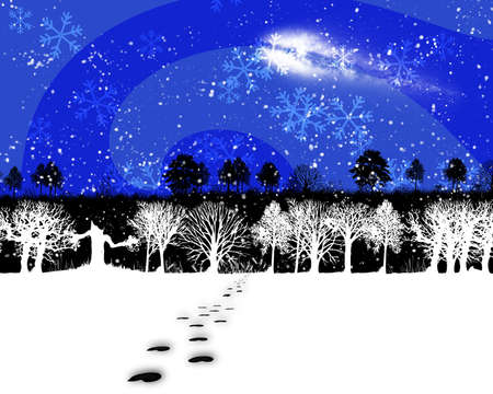 animal tracks and snow in a winter landscape Stock Photo - 5757826