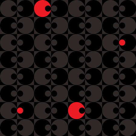 Abstract geometric seamless pattern with squares and circles in black and gray with red details - retro style