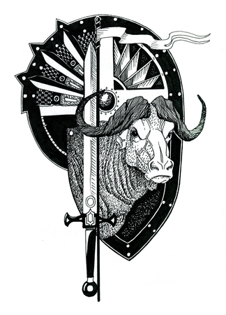 African buffalo head with shield and sword. Hand drawn illustration. Reklamní fotografie