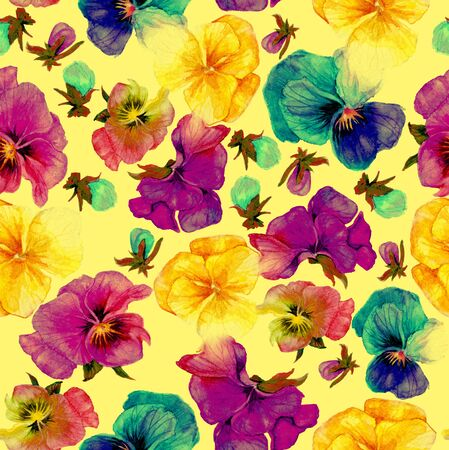 Flower pattern, watercolor painting on yellow background