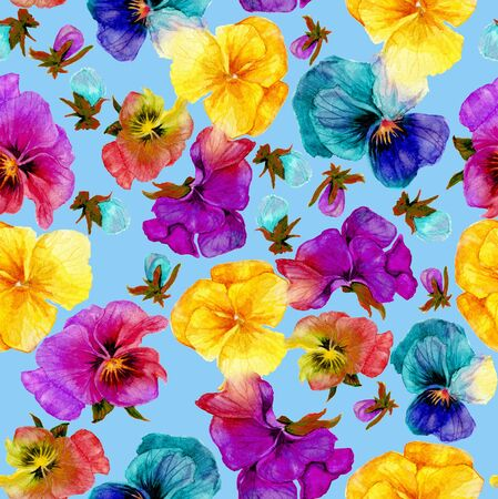 Flower pattern, watercolor painting on blue background Reklamní fotografie
