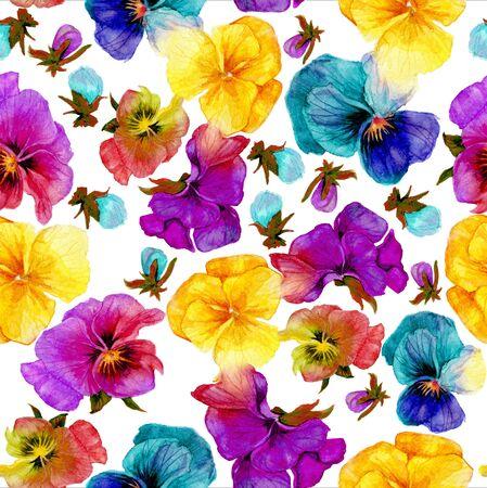 Flower pattern, watercolor painting on white background Reklamní fotografie