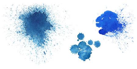 Blue blots on on white background
