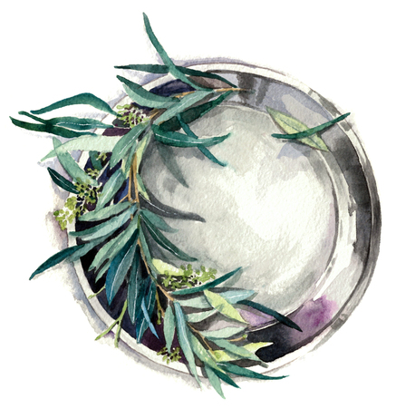 Olive branch on a plate. Watercolor painting isolated on white background Reklamní fotografie