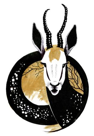 Watercolor deer head on  abstracte round background.