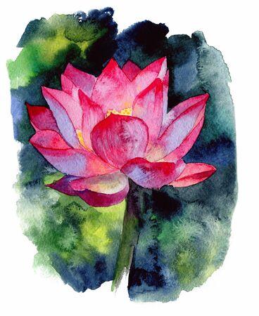 Watercolor painting of single Lotus flower. Hand drawn illustration. Reklamní fotografie