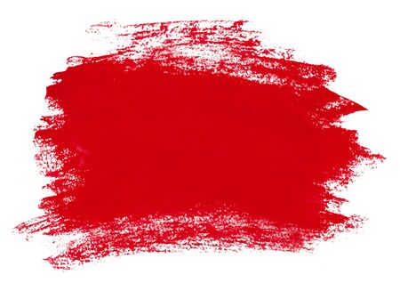 Red brush texture on paper. On a white background