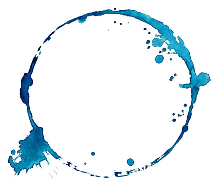Watercolor blue circle with splashes isolate on white Reklamní fotografie
