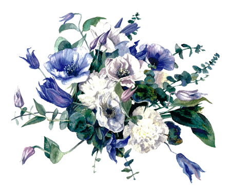 Bouquet with anemones in blue tones on a white background.