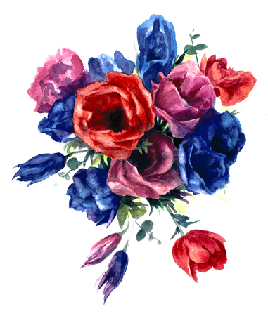 Anemone on a white background. Watercolor painting. Reklamní fotografie - 75090467
