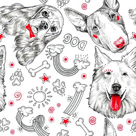 Doggy heads collection on white background. Pattern, print. Hand drawing