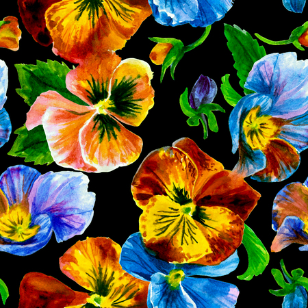 Watercolor floral pattern. Beautiful pansies isolated on black background
