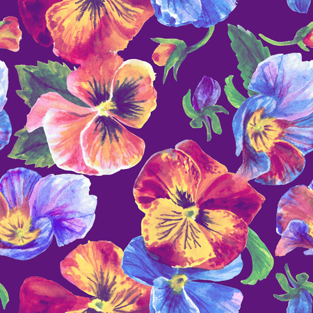 Watercolor floral pattern. Beautiful pansies isolated on violet background