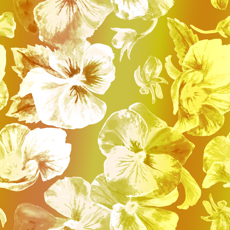 Floral pattern. Beautiful pansies isolated on gold background