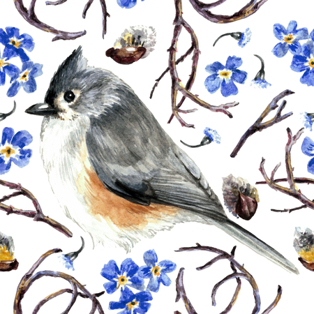 Watercolor gray bird on white background. Spring pattern