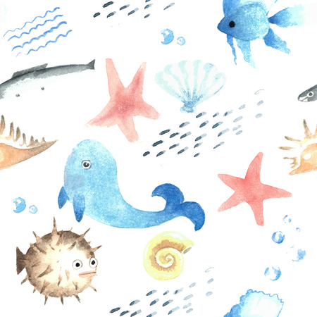 Watercolor pattern with swiming fishes Reklamní fotografie - 75084476