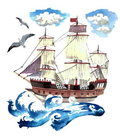Big ship on white background. Watercolor painting Reklamní fotografie - 75084480