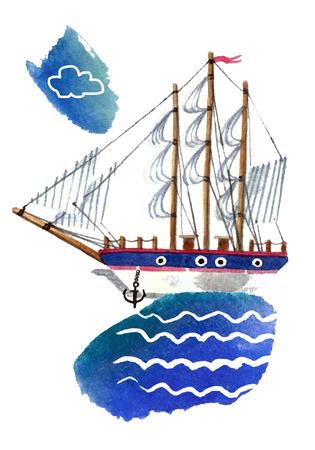 Simple ship. Watercolor painting Reklamní fotografie - 75084477