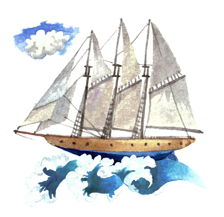 Watercolor little ship on waves.
