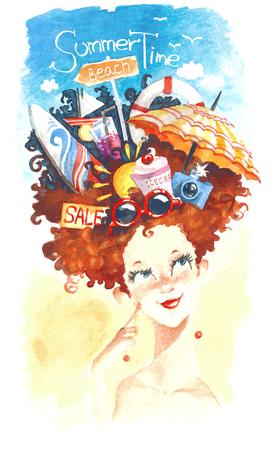Watercolor summer girl