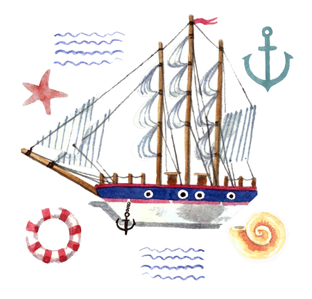Watercolor ship with anchor and lifebuoy. Isolated on a white background Reklamní fotografie