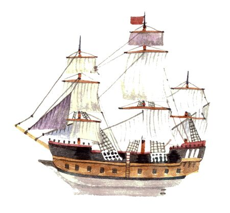 Watercolor big ship isolated on a white background Reklamní fotografie - 75084474