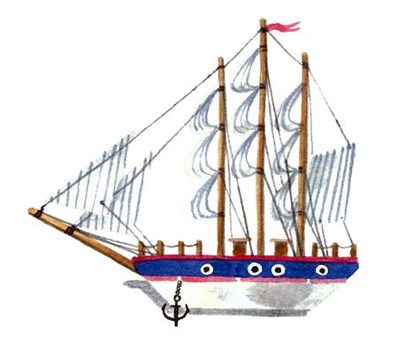 Watercolor simple ship Reklamní fotografie - 75084482